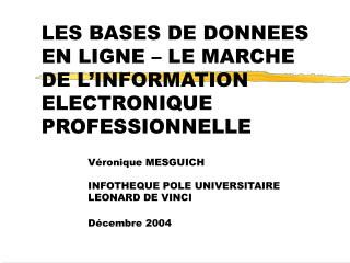 LES BASES DE DONNEES EN LIGNE   LE MARCHE DE L INFORMATION ELECTRONIQUE PROFESSIONNELLE