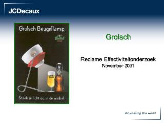 Grolsch Reclame Effectiviteitonderzoek  November 2001