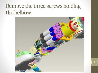Remove the three screws holding the helbow