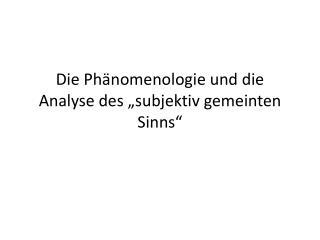 """Die Phänomenologie und die Analyse des """"subjektiv gemeinten Sinns"""""""
