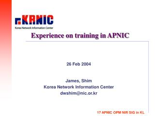 Experience on training in APNIC