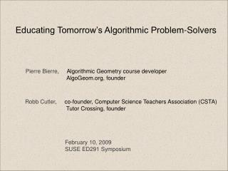 Educating Tomorrow's Algorithmic Problem-Solvers