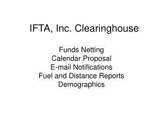 IFTA, Inc. Clearinghouse