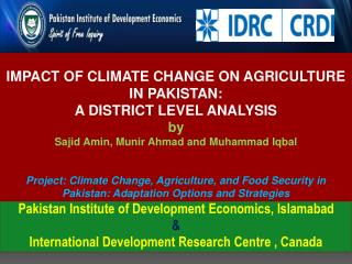 Pakistan Institute of Development Economics, Islamabad &