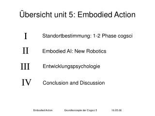 Übersicht unit 5: Embodied Action