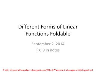 Different Forms of Linear Functions Foldable