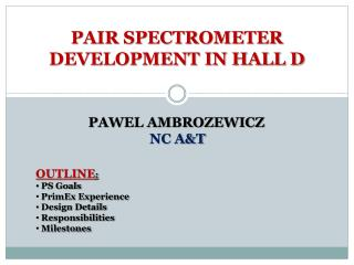PAIR SPECTROMETER DEVELOPMENT IN HALL D