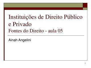 Instituições de Direito Público e Privado Fontes do Direito - aula 05