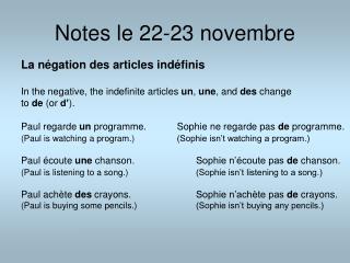 Notes le 22-23 novembre