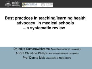 Best practices in teaching/learning  health advocacy  in medical schools  –  a systematic review