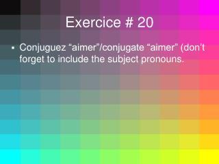 Exercice  # 20