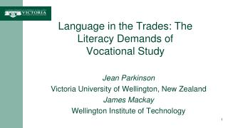Language in the Trades: The  Literacy Demands of Vocational  Study