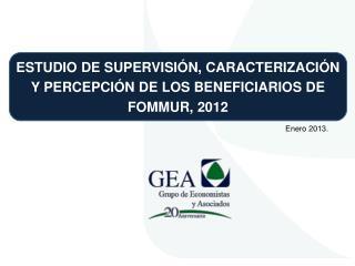 ESTUDIO DE SUPERVISIÓN, CARACTERIZACIÓN Y PERCEPCIÓN DE LOS BENEFICIARIOS DE FOMMUR, 2012