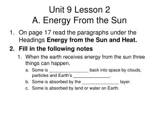 Unit 9 Lesson 2 A. Energy From the Sun