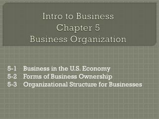Intro to Business Chapter 5 Business Organization