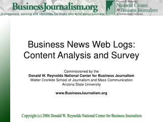 Business News Web Logs: Content Analysis and Survey