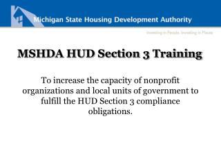MSHDA HUD Section 3 Training