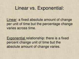 Linear vs. Exponential: