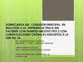 DR. YASSER MORGADO  HUESCA RESIDENTE    1° AÑO    MEDICINA FAMILIAR ASESOR METODOLÓGICO: