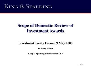 Scope of Domestic Review of Investment Awards