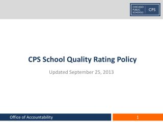 CPS School Quality Rating Policy