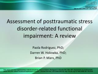 Assessment of posttraumatic stress disorder-related functional impairment: A review