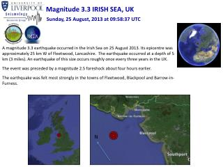 Magnitude 3.3 IRISH SEA, UK
