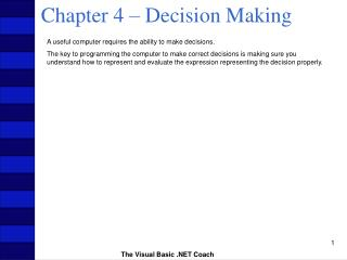 Chapter 4 – Decision Making