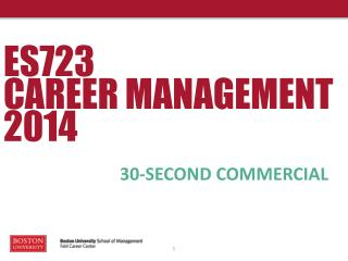 ES723 CAREER MANAGEMENT 2014
