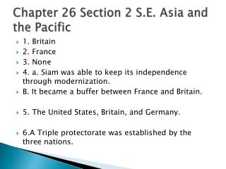 Chapter 26 Section 2 S.E. Asia and the Pacific