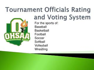 Tournament Officials Rating and Voting System