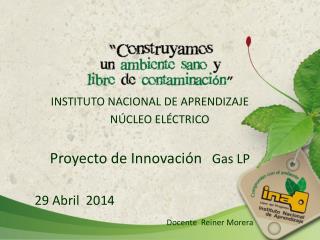 INSTITUTO NACIONAL DE APRENDIZAJE              NÚCLEO ELÉCTRICO  Proyecto de Innovación    Gas LP