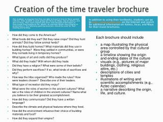 Creation of the time traveler brochure