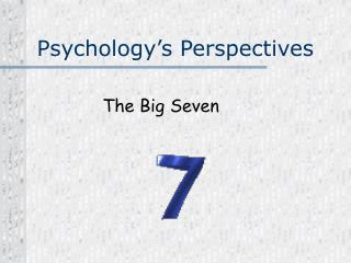 Psychology�s Perspectives