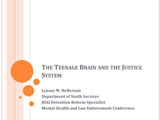 The Teenage  Brain and the Justice System