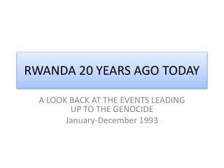 RWANDA 20 YEARS AGO TODAY