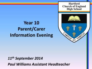 Year 10 Parent/Carer Information Evening