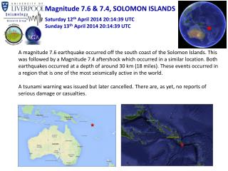 Magnitude 7.6 & 7.4, SOLOMON ISLANDS
