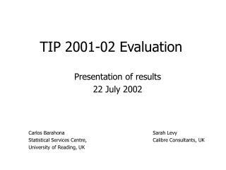 TIP 2001-02 Evaluation