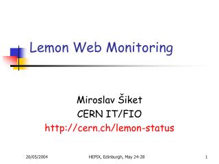 Lemon Web Monitoring