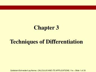 Chapter 3 Techniques of Differentiation