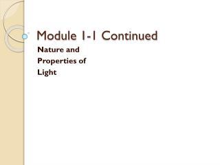 Module 1-1 Continued