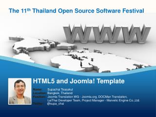 HTML5 and  Joomla !  Template
