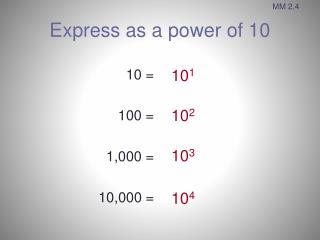 Express as a power of 10