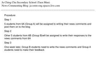 Ju Ching Chu Secondary School (Tuen Mun) News Commenting Blog: jccsstm-eng.spaces.live