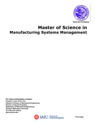 Master of Science in Manufacturing Systems Management