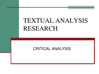 TEXTUAL ANALYSIS RESEARCH