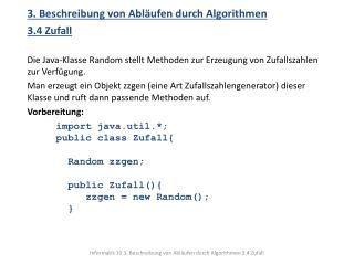 3 . Beschreibung von Abläufen durch Algorithmen 3.4 Zufall