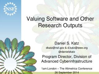 Valuing Software and Other Research Outputs