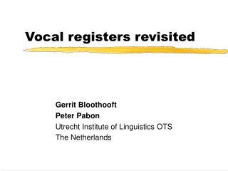 Vocal registers revisited